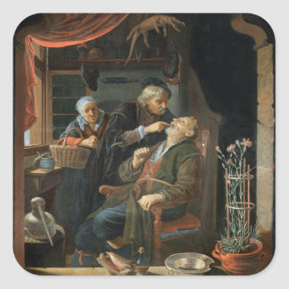 A Dentist Examining The Tooth of an Old Man (oil o Square Sticker