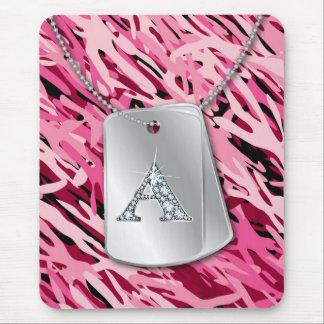 """A"" Diamond Bling, Dog Tags & Camo Mousepad"