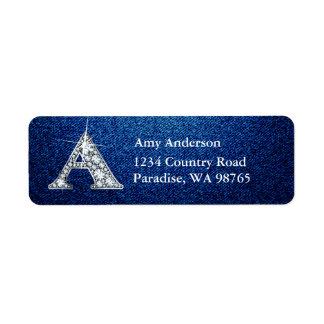 "A ""Diamond"" Bling Monogram Return Address Label"