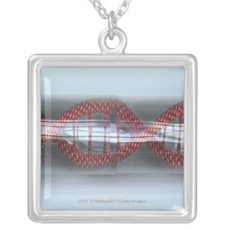 A DNA strand in a capsule Silver Plated Necklace