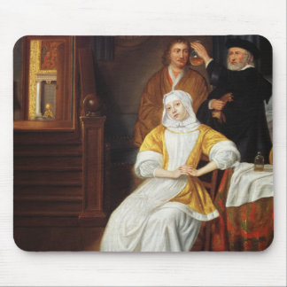 A Doctor Visiting a Young Lady in a Bedroom (oil o Mouse Pad