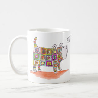 A dog in a crocheted outfit. coffee mug