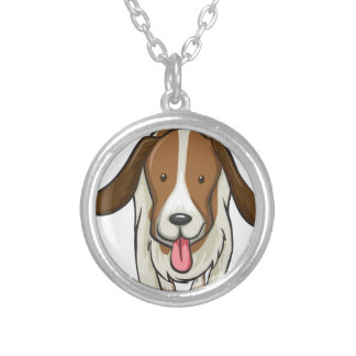 A dog round pendant necklace