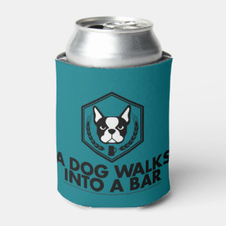 A Dog Walks into a Bar- Black and White Coozie
