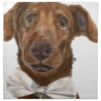 A dog with a bow tie napkin