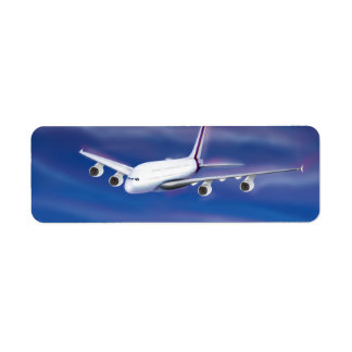 A Double Decker Commercial Airplane Return Address Label