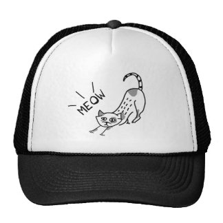 A Drawing Of A Meowing Cat Cap