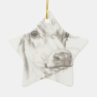 A drawing of a young cow ceramic ornament