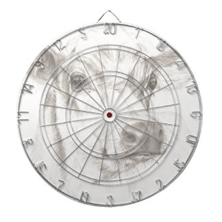 A drawing of a young cow dartboard