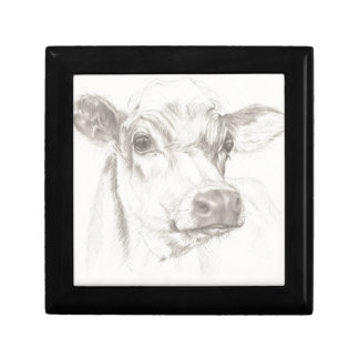 A drawing of a young cow gift box