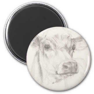 A drawing of a young cow magnet