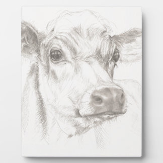 A drawing of a young cow plaque