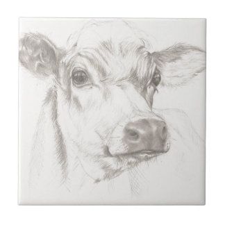 A drawing of a young cow small square tile