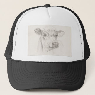 A drawing of a young cow trucker hat
