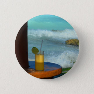 A Drink At The Beach 6 Cm Round Badge