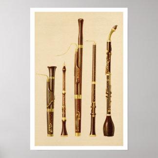 A dulcian, an oboe, a bassoon, an oboe da caccia a poster