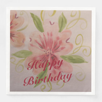 A Dusty Rose And Pink Watercolor Paper Napkins