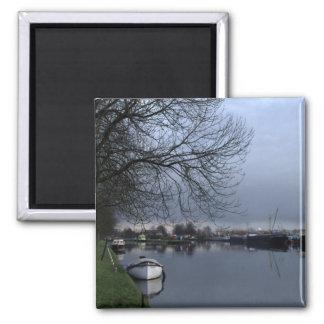 A Dutch canal Square Magnet