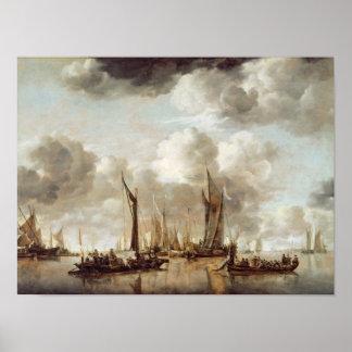 A Dutch Yacht Firing a Salute Print