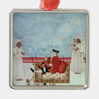 A European Seated on a Terrace with Attendants Christmas Ornaments