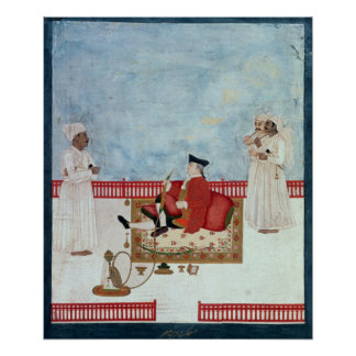 A European Seated on a Terrace with Attendants Print