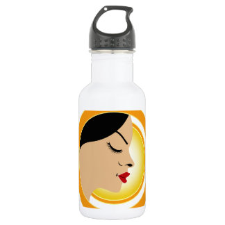 A face with a bright yellow sun- Sun tan 532 Ml Water Bottle