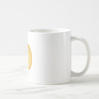 A face with a bright yellow sun- Sun tan Basic White Mug