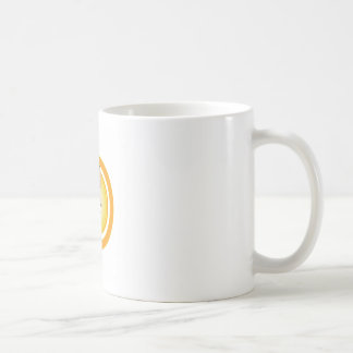 A face with a bright yellow sun- Sun tan Coffee Mug