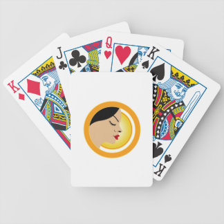 A face with a bright yellow sun- Sun tan Bicycle Poker Cards
