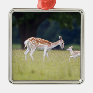 A Fallow Deer (Doe) with Fawn Metal Ornament