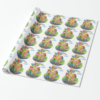 A family at the amusement park wrapping paper