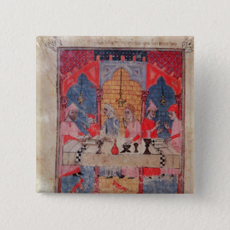 A family gathered at the table for Passover 15 Cm Square Badge
