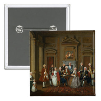 A Family in a Palladian Interior , 1740 15 Cm Square Badge