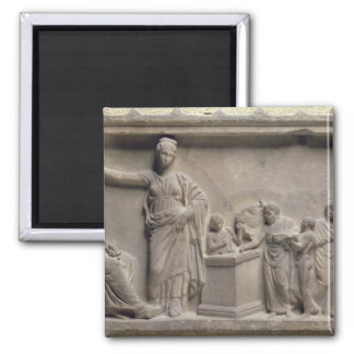 A family sacrificing a bull to Asclepius Square Magnet