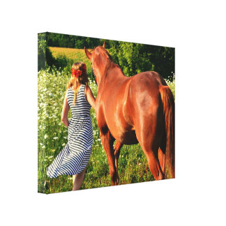 A Farm Girl And Her Horse Gallery Wrapped Canvas