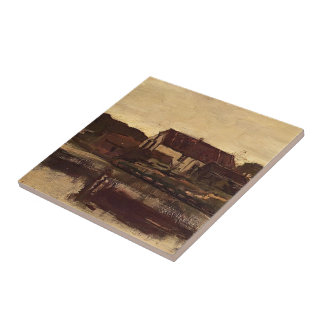 A Farm On The Waterfront by Johan Weissenbruch Ceramic Tile