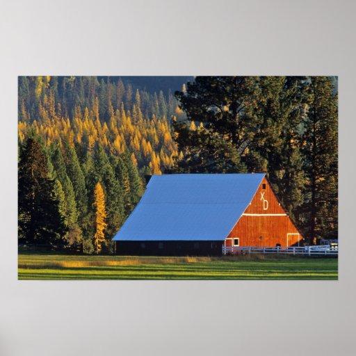 A Farmed red barn built in 1911 near Troy Print