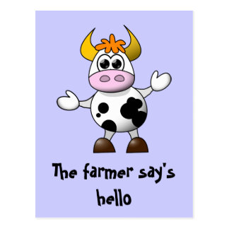 A Farmer says Hello Funny Cartoon Cow Postcard