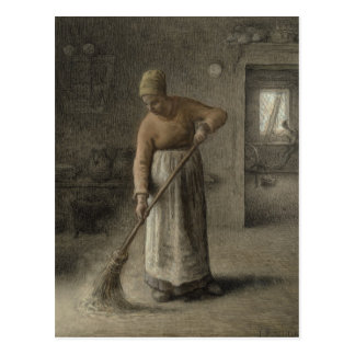 A Farmer's wife sweeping, 1867 Postcard