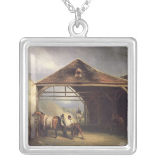 A Farrier shoeing a Horse Silver Plated Necklace