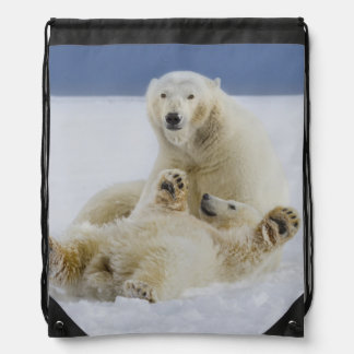 A female polar bear and her cub play in the snow drawstring backpacks