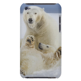 A female polar bear and her cub play in the snow iPod touch covers