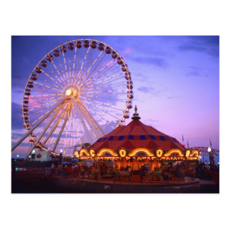 A ferris wheel and carousel at the Navy Pier in Postcards