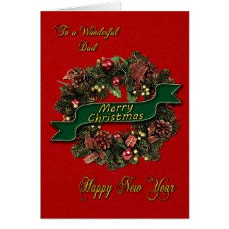 A festive Christmas Wreath for your dad Card