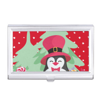 A Festive Penguin - 1 Business Card Holder