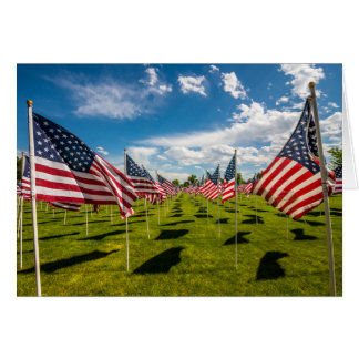 A field of American Flags on V-day Remembrance Card