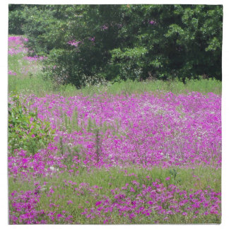 A field of pink spring wildflowers napkin