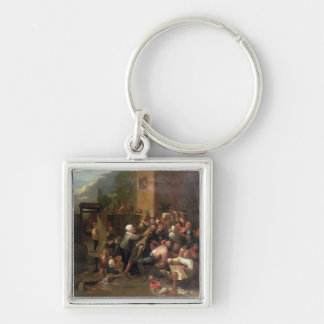 A Fight Outside a Tavern Silver-Colored Square Key Ring