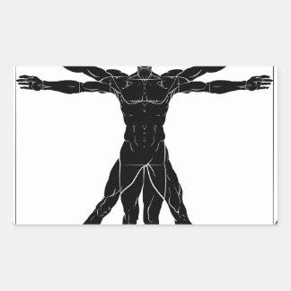 A figure like Leonard Da Vinci s Vitruvian man ana Rectangular Sticker