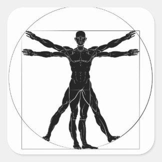 A figure like Leonard Da Vinci s Vitruvian man ana Square Sticker